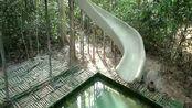 用木头和竹子建房子,还有游泳池+滑梯+秋千隐藏在丛林中的别墅