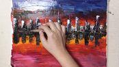【丙烯画】VLOG日常绘画挑战#17《夜幕城市的倒影》,新手教程非常容易上手,落寞前的最后一点余晖