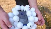 50个乒乓球包裹苹果X,从210米的高空丢下,猜猜手机还能用吗?