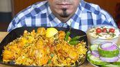 【bas】吃鸡肉汉迪比里亚尼,樱桃胡萝卜莱塔,洋葱,沙拉,辣椒-吃助眠-慕邦秀(2020年1月23日20时41分)