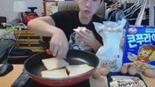 【大胃王吃播】韩国小哥美式早餐培根鸡蛋烤面包片吃播!