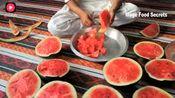 印度老哥摘来大西瓜,土法制作美味西瓜汁,味道一级棒