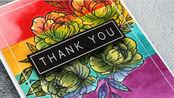 【卡片】K神干画法水彩分段上色制作彩虹花卡片教程|Capsule Card 10 - Masked Watercolor Stripes