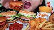 【pink】汉堡大王汉堡、辣味鸡肉、金块、芝士托特洋葱圈盛宴吃粉色(2019年12月11日17时45分)
