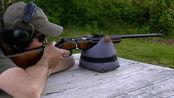 栓动步枪靶场射击测试,采用.22lr小口径弹药供弹,射击没有后坐力!