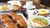 Vlog.8 周末的早餐 | 烟熏火鸡肉太阳蛋三明治 | 巧克力可颂 | 蔬菜沙拉 | 水果麦片酸奶