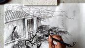 国画技法包括山水、人物、花鸟画的基本技法,特点是以墨线为基础