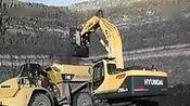 挖掘机工作大全 现代R290LC-9正铲挖掘机在煤矿工作{T}