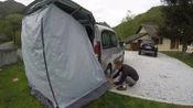 亲子床车去旅行。 mpv自建床车露营 后拓展帐篷搭建