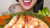 [SAS]吃播-咀嚼音-巨虎虾+新鲜西葫芦+托比科鸡蛋