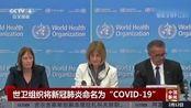 """世卫组织将新冠肺炎命名为""""COVID-19"""":谭德赛解释各字母含义"""