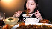 【Eat With Boki】大口吃流汁粉条+酱汁炖牛肋骨+泡菜+米饭