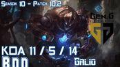 [LOL第一视角]Gen BDD GALIO vs FIZZ Mid - Patch 10.2 KR Ranked