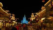 Christmas on Main Street USA at Night - 4K Ultra Low Light Relaxing Stroll