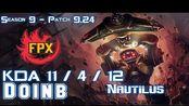 [LOL第一视角]FPX Doinb NAUTILUS vs RYZE Mid - Patch 9.24 KR Ranked