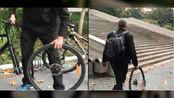 外教卸下自行车轮带着上课:学生教的 这样不怕被偷