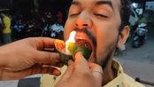 """印度小吃""""火烧槟榔叶"""",点着火直接往嘴里送,网友:不怕烧嘴?"""