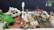 用塑料勺子和铁条DIY音乐喷泉,当水流动时,音乐响起