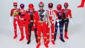 一一展示红色动力游骑兵玩具,孩子收藏了好多的玩具