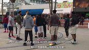 【野球场扮猪吃老虎】同学我不会打球,可以一起打吗?