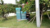 珠海横琴国际网球中心,外围很多看比赛的凳子