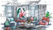 【马克笔手绘】室内手绘马克笔上色04,做了一个20多分钟的,希望能帮助到有需要的人~