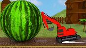 吃豆人伪装大西瓜vs挖掘机学颜色游戏