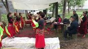 河南南阳镇平县,农村办事请来唢呐铜器演奏接客,表演的很接地气