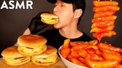 【zach choi】助眠3个三重芝士汉堡和麻辣年糕(不说话)吃的声音| Zach Choi助眠(2020年3月9日12时40分)
