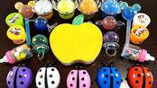 黄色苹果水晶泥,混合七星瓢虫太空泥,制作史莱姆