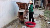 用风车把芝麻残渣扇一掉,再用竹筛筛一下,扇好留着做糖粑吃