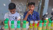 【街头美食】 印度 街头卖masala马萨拉水果的小摊 生意很好