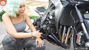 机车女孩和她的Kawasaki Z1000,拧动油门后澎湃的四缸声浪音