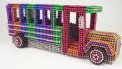 用巴克球DIY一辆豪华校车,整齐排列色彩鲜明,制作过程太过瘾