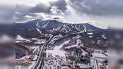 航拍东北黑龙江省哈尔滨亚布力滑雪场景色优美休闲旅游的好地方
