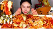 【卡妹】炒年糕蘸在蛋黄酱吃的话很好吃炒年糕中国粉面芝士培根炸辣椒吃播 Eating Sound(2019年12月22日21时30分)