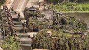 北约装甲车过河 舟桥部队 高清60fps