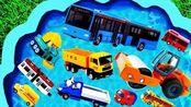 学习认识工程车、推土机、公交车等汽车玩具名称
