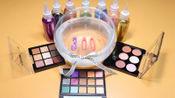 制作自制的粘液史莱姆玩具混合化妆品眼影22