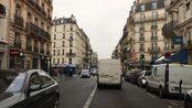 法国巴黎驾车穿行繁华的城市街区