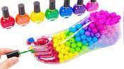 趣味手工制作:彩虹珠子放入教育造型瓶里学英语颜色 涂彩色指甲