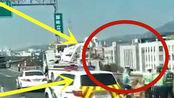 客车与货车相撞致1死4伤,车辆受损严重,监控拍下全程