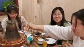 南方妹子和闺蜜吃沧州火锅鸡,人均40元,吃肉喝醋蘸蒜泥,太香了