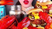 【yummy】龙虾怪兽汉堡包汉堡包吃的声音Mukbang食物不说话(2019年8月25日12时16分)
