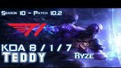 [LOL第一视角]T1 Teddy RYZE vs RENEKTON Mid - Patch 10.2 KR Ranked