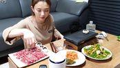 【Hamzy】吃播/爽快吃播系列之Hamzy烤韩牛肉,烤蘑菇加上小葱拌菜~