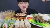 【udt】吃播2倍速菠萝虾仁炒饭和越南蔬菜米线春卷