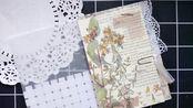 【傅久】NO.36 junk journal 复古口袋本 单页设计翻翻看 仿编织小口袋/流苏回形针/英文书页信封/乐谱蕾丝口袋