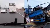 【辽宁】大客车突然驶入对向车道 与货车迎面相撞致2死4伤