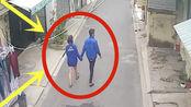 小情侣拉手走进巷子,突然四下张望,2秒后太丢人了!